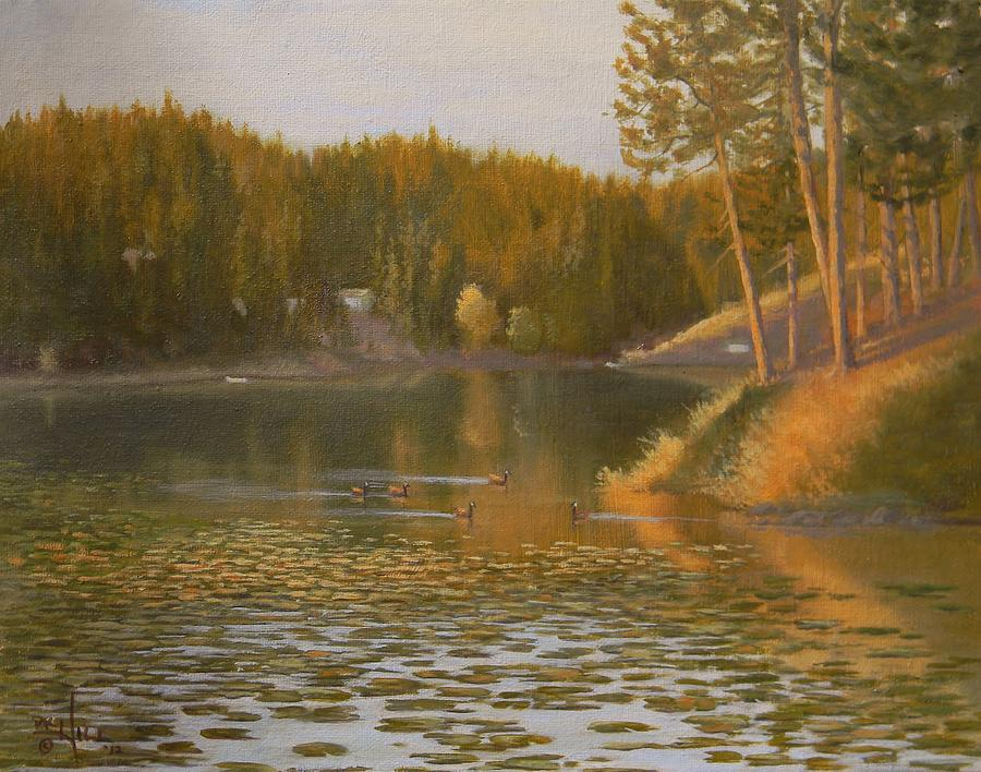 Lake Painting - Evening Light On Avondale by Paul K Hill