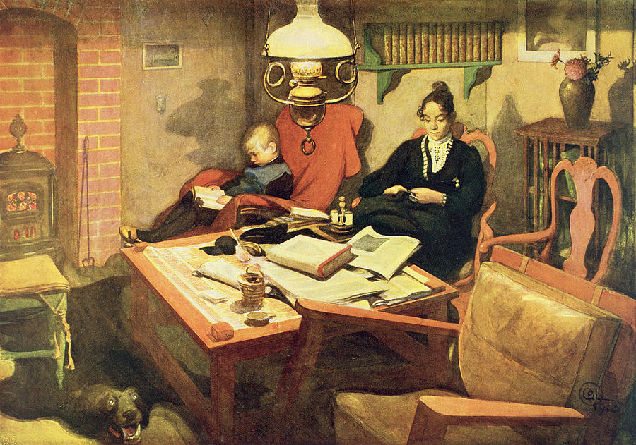 Evening Light, Pub. In Lasst Licht Painting by Carl Larsson