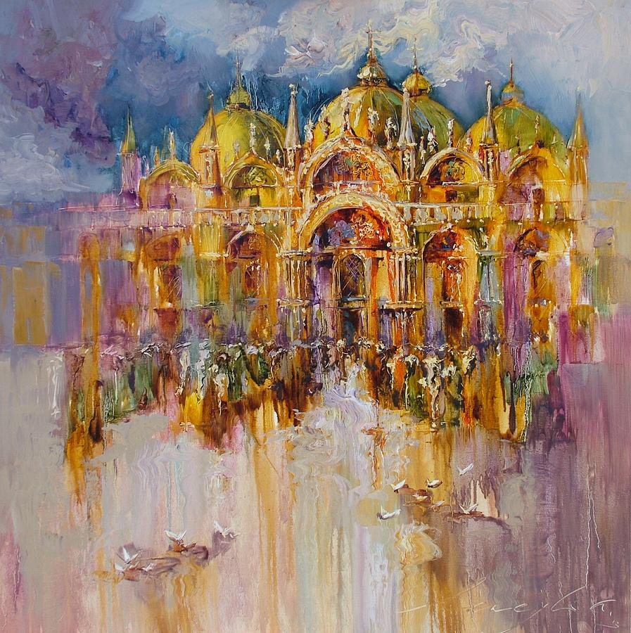 Artwork Painting - Evening Lights On St. Mark Square by Andras Manajlo