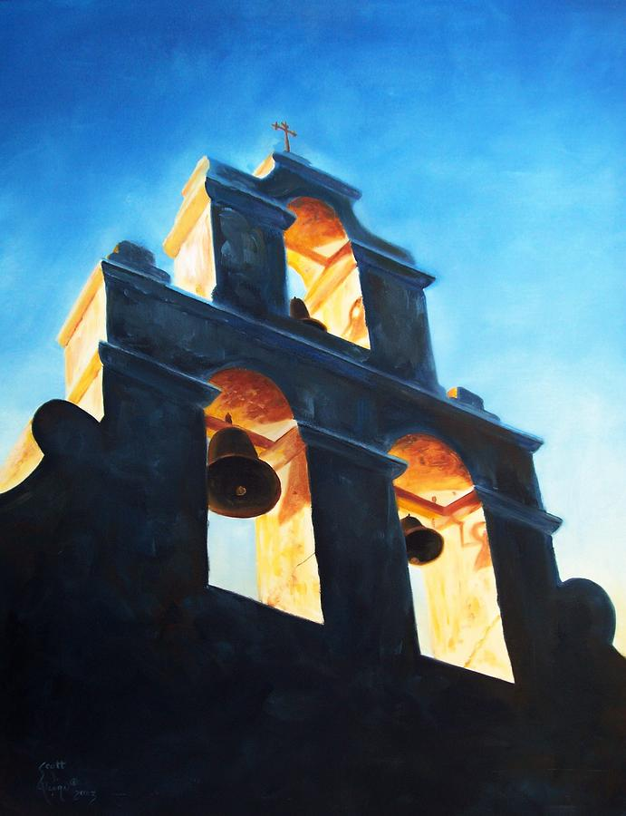 Building Painting - Evening Mission by Scott Alcorn