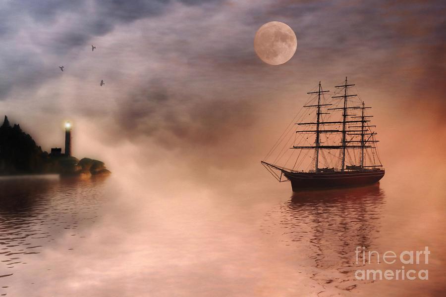 Sailing Ship Painting - Evening Mists by John Edwards