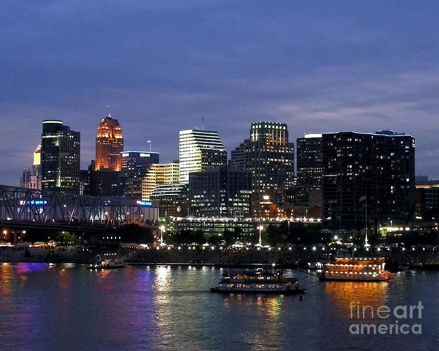 Cincinnati Photograph - Evening On The River by Mel Steinhauer