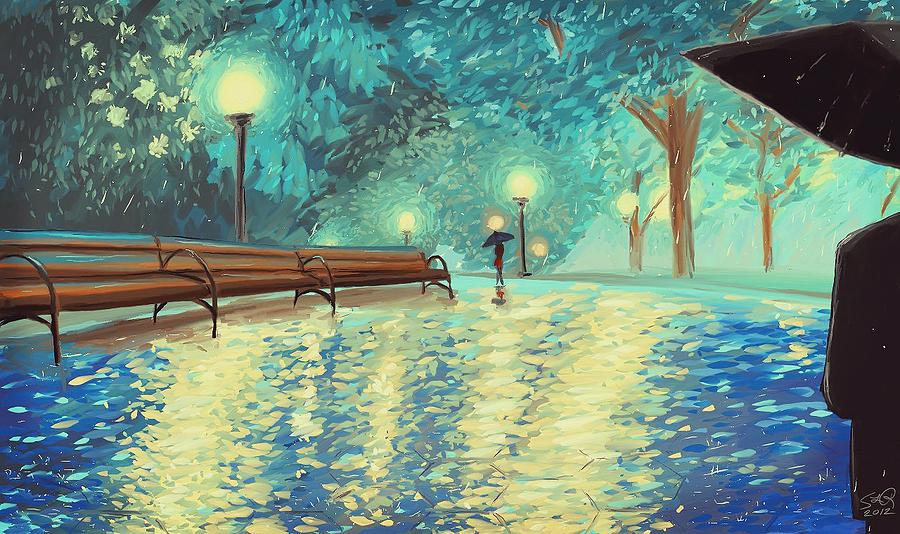 Park Digital Art - Evening Rain by Samantha Ramsay Behrman