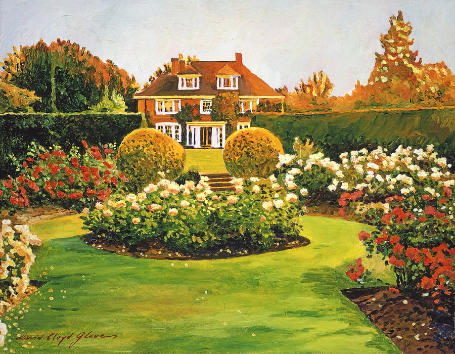Gardenscapes Painting - Evening Rose Garden by David Lloyd Glover