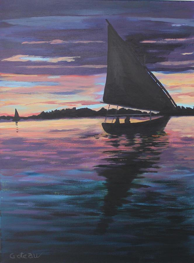 Sunset Painting - Evening Sail by Jane Croteau