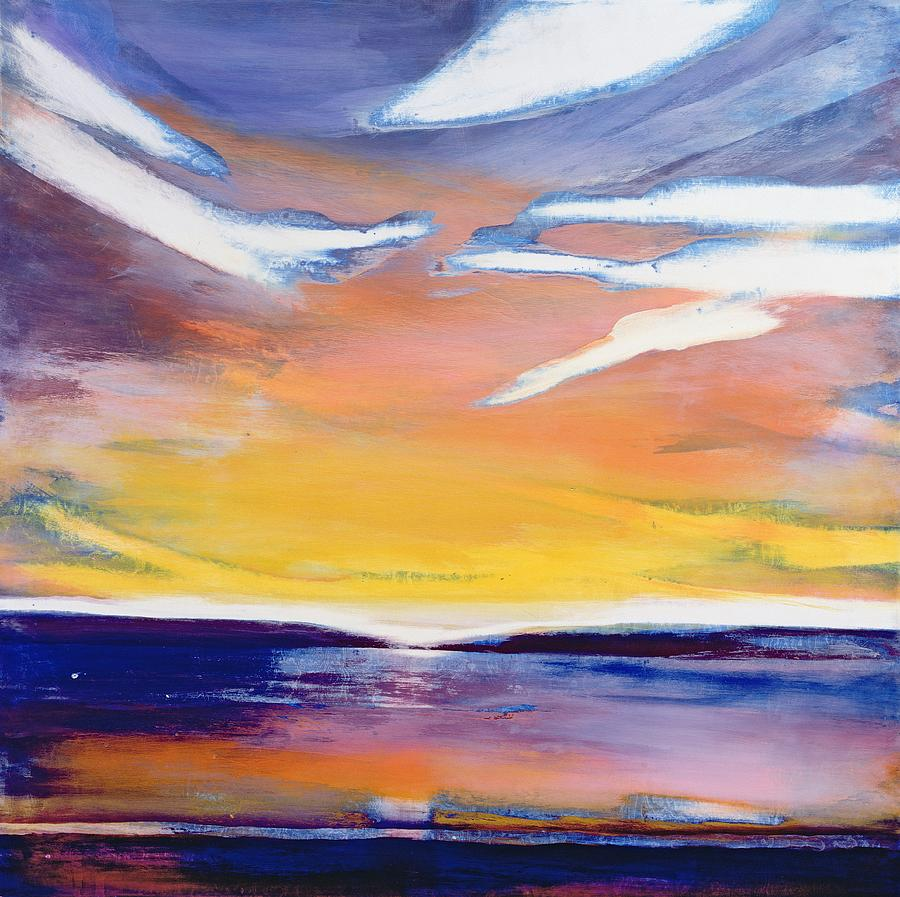 Dusk Painting - Evening Seascape by Lou Gibbs