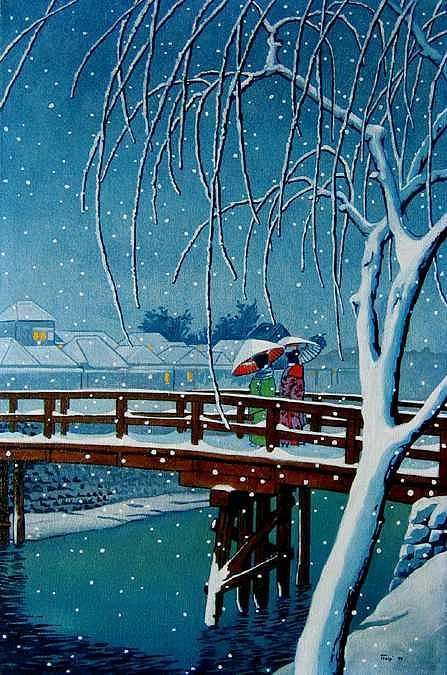 Evening Snow Copy After Hasui Painting by Robert Tracy