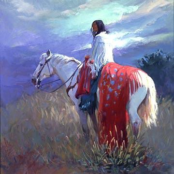 Native American Digital Art - Evening Solitude by Billups Fine Art