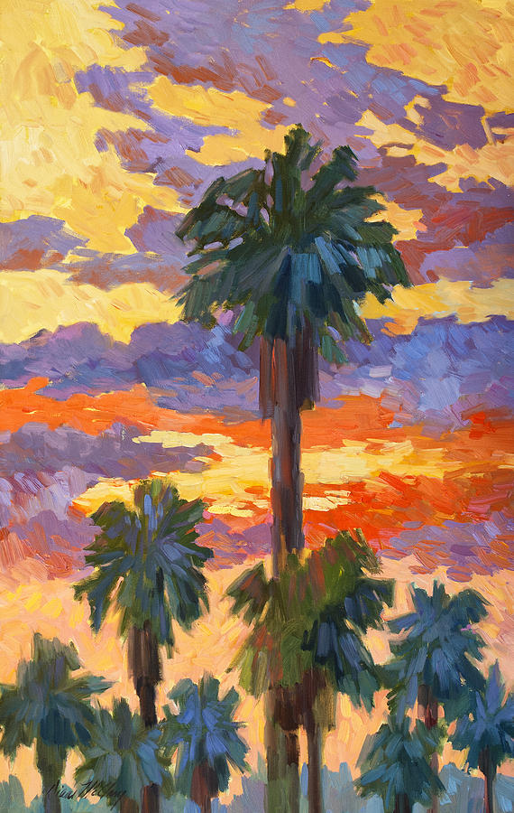 Evening Sunset Painting - Evening Sunset And Palms by Diane McClary