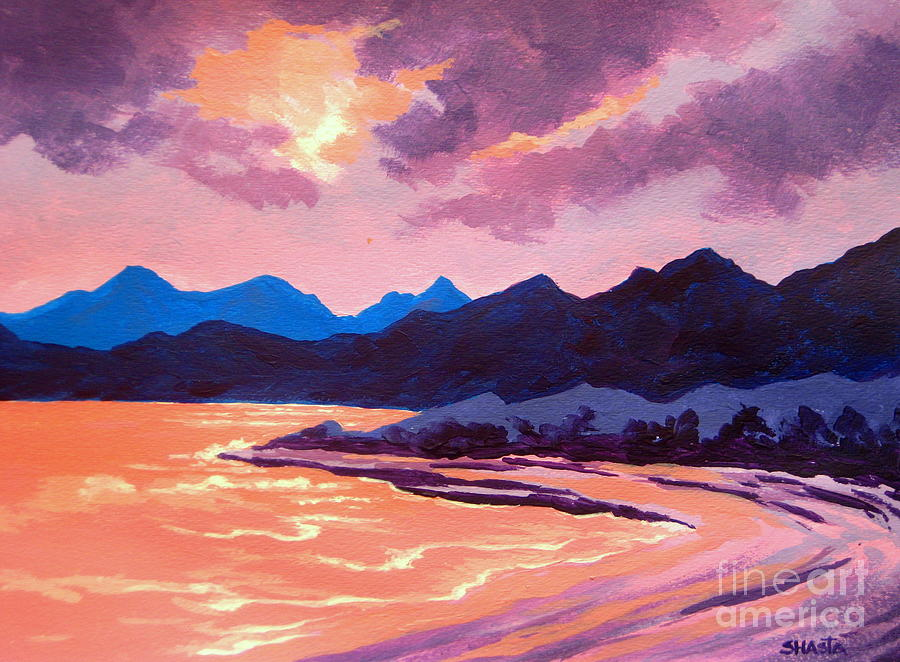Landscape Painting - Evening  Tide by Shasta Eone