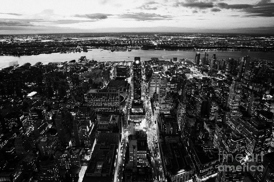 Usa Photograph - Evening View Of Manhattan West Towards Hudson River And One Penn Plaza Night New York City by Joe Fox