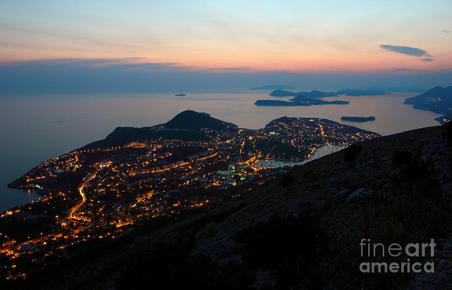 Coast Photograph - Evening View Toward Dubrovnik And The Dalmatian Coast by Kiril Stanchev