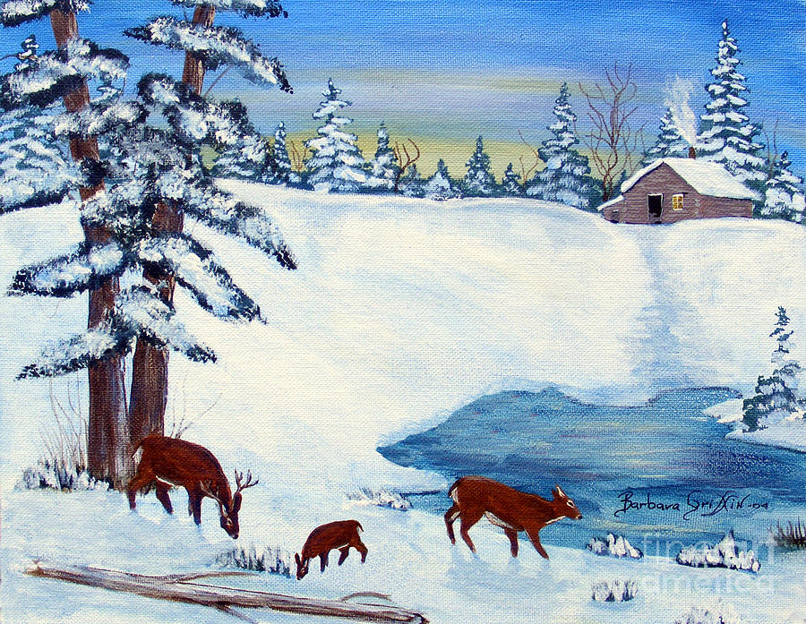 Snow Scene Painting - Evening Visitors by Barbara Griffin