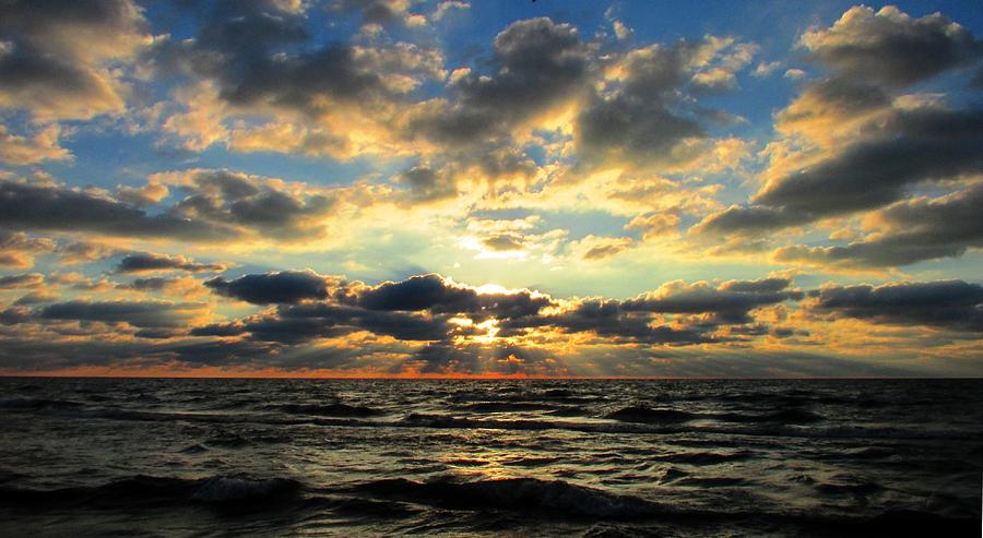 Water Photograph - Morning  Rays Over Lake Michigan  by Denise   Hoff