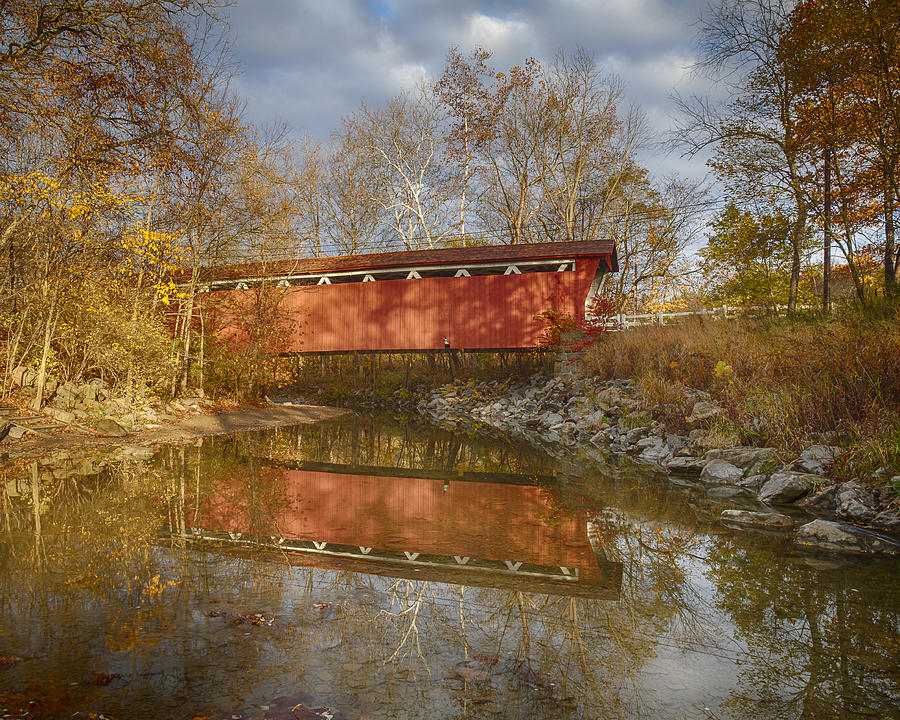 Cvnp Photograph - Everett Rd. Covered Bridge In Fall by Jack R Perry