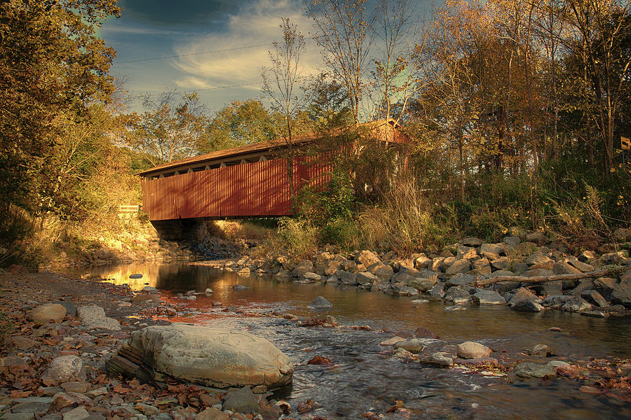 Cvnp Photograph - Everett Rd Summit County Ohio Covered Bridge Fall by Jack R Perry
