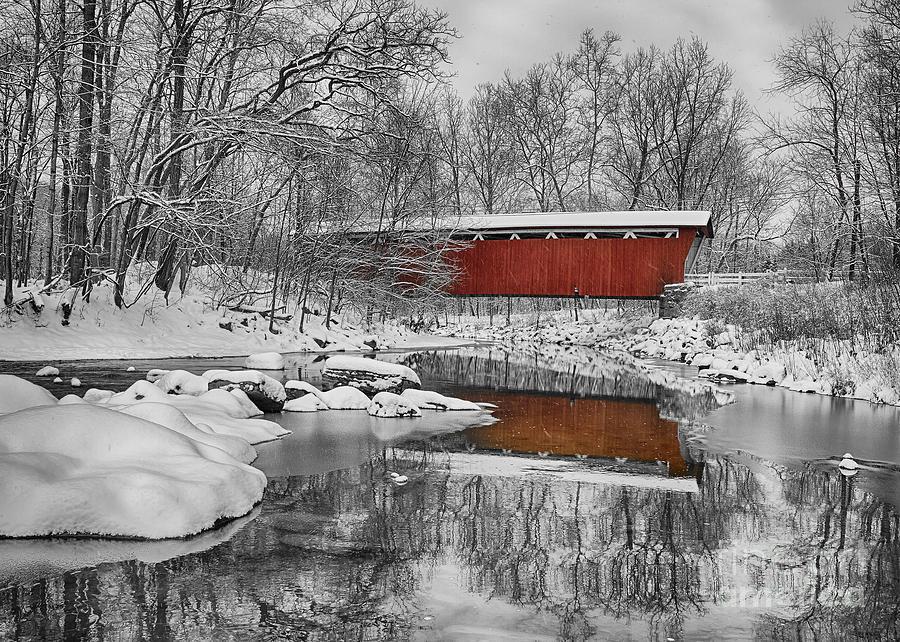 Ohio Photograph - Everett Road Covered Bridge by Joshua Clark