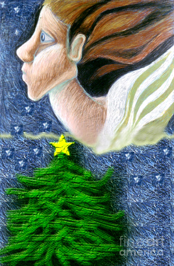 Christmas Drawing - Everseeing Christmas Angel by Genevieve Esson