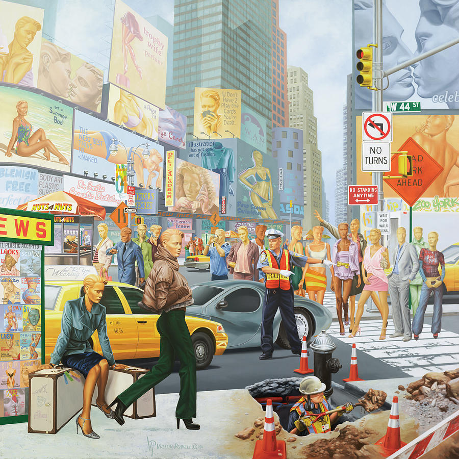 Times Square Painting - Everybodies Beautiful by Victor Powell