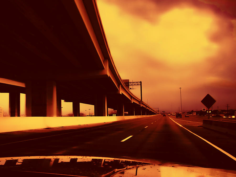 I-35 Photograph - Everybodys Out Of Town - Sundown by Wendy J St Christopher
