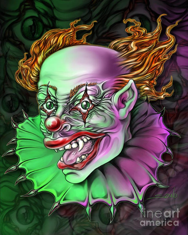 Spano Painting - Evil Clown By Spano by Michael Spano