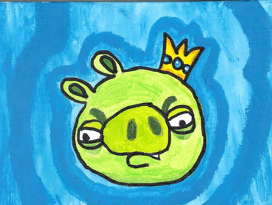 Evil King Pig Angry Bird Painting by Fred Hanna