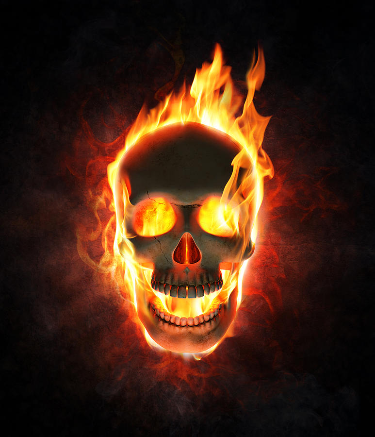Skull Photograph - Evil Skull In Flames And Smoke by Johan Swanepoel