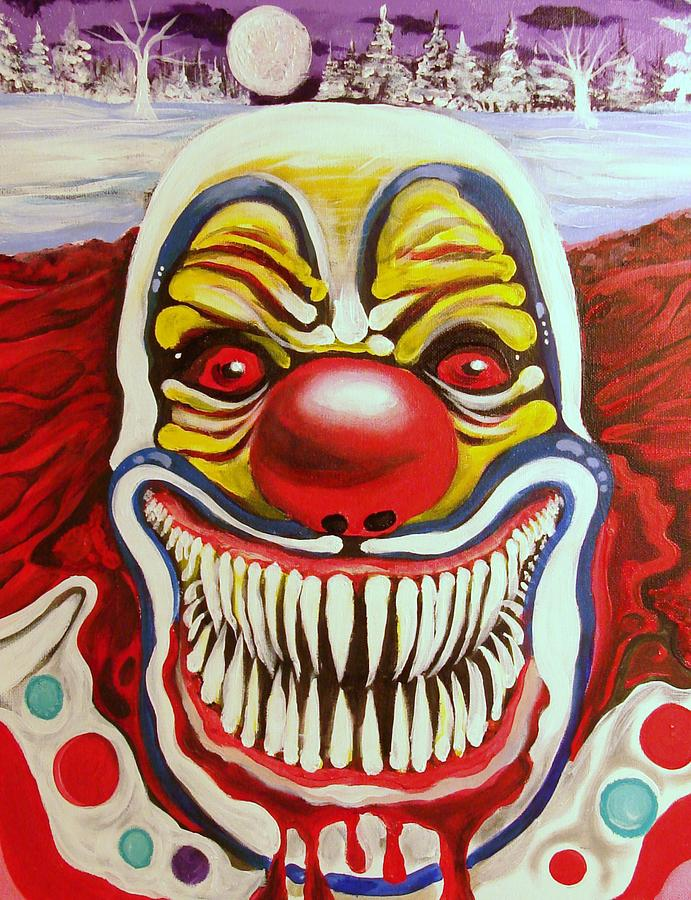Clown Halloween  Evil Smile Painting Canvas Prints Painting - Evil Smile by Ottoniel Lima
