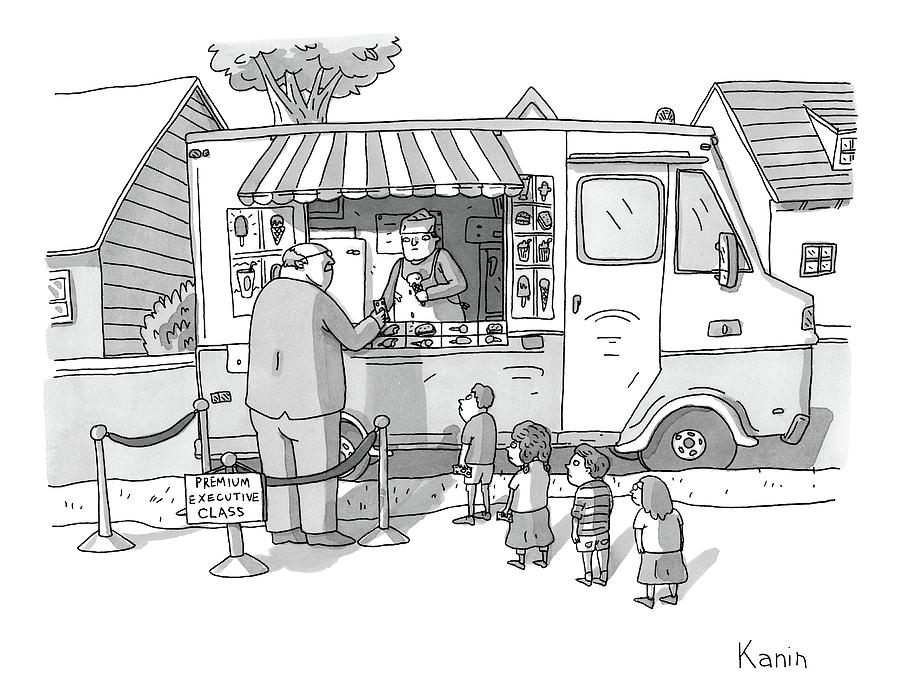 Exec Cuts Children In Line For Ice Cream Drawing by Zachary Kanin