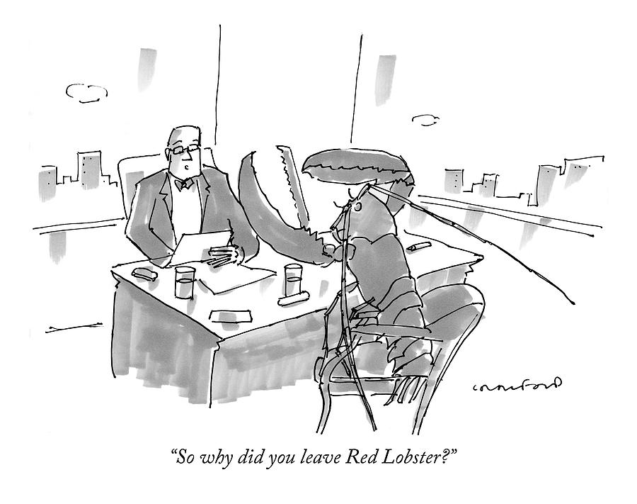 Executive At Desk Interviewing A Giant Lobster Drawing by Michael Crawford