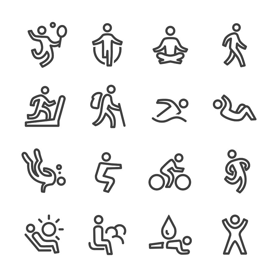 Exercise and Relaxation Icons - Line Series Drawing by -victor-