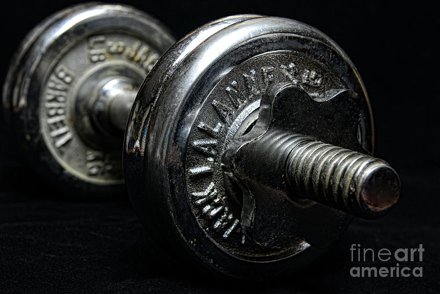 Paul Ward Photograph - Exercise  Vintage Chrome Weights by Paul Ward