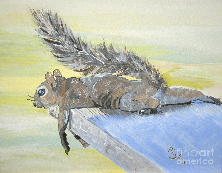 Squirrel Painting - Exhausted Little Nevada Squirrel by Phyllis Kaltenbach