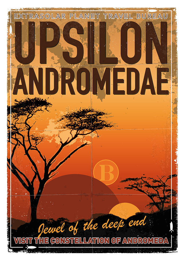 Space Digital Art - Exoplanet 06 Travel Poster Upsilon Andromedae 4 by Chungkong Art