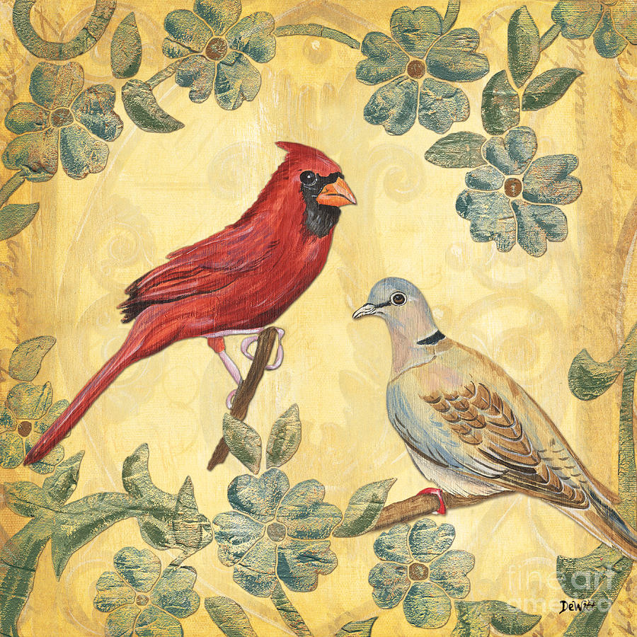 Birds Painting - Exotic Bird Floral And Vine 2 by Debbie DeWitt