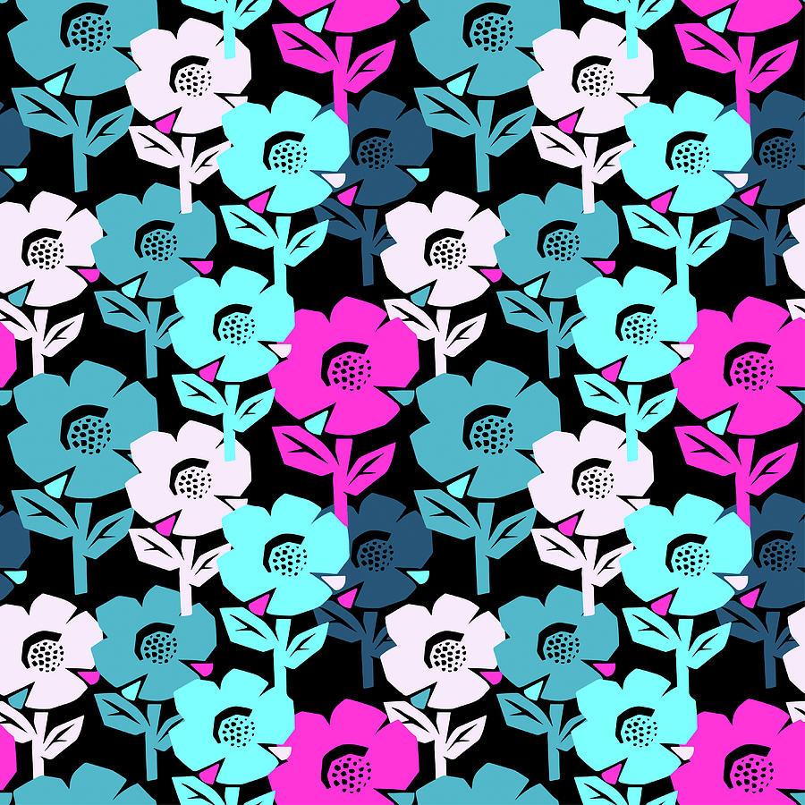 Exotic Flowers Seamless Pattern Digital Art by Olgalis