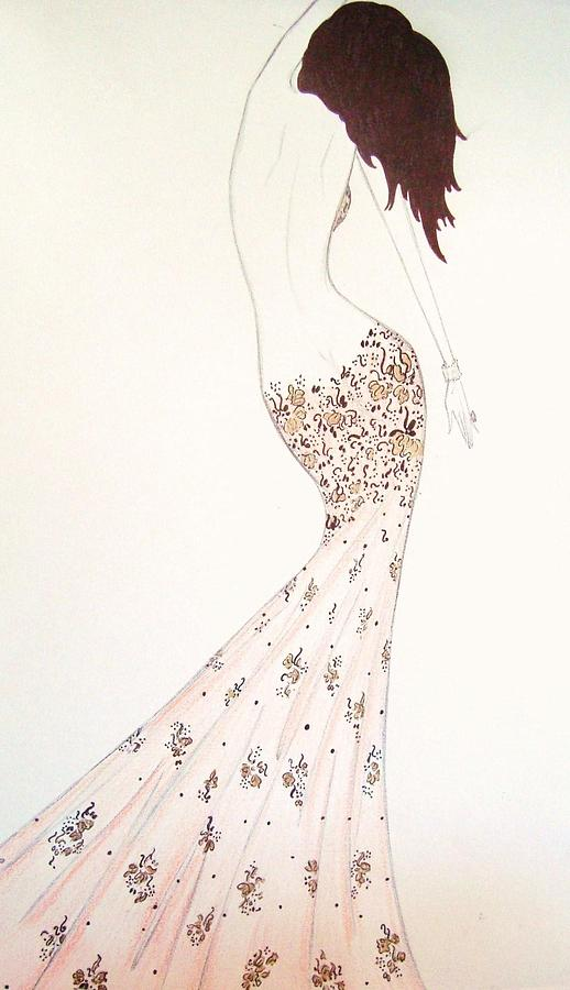 Fashion Illustration Drawing - Exotic Lilies Gown by Christine Corretti