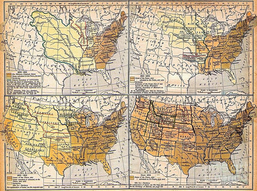 Reproduction Drawing - Expansion Of United States Territory by Pg Reproductions