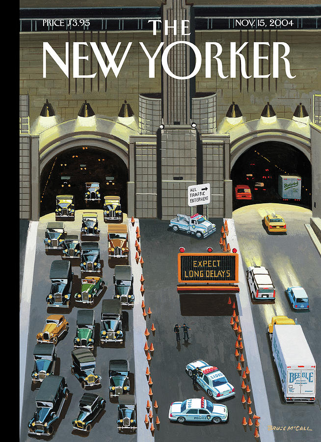 Expect Long Delays Painting by Bruce McCall