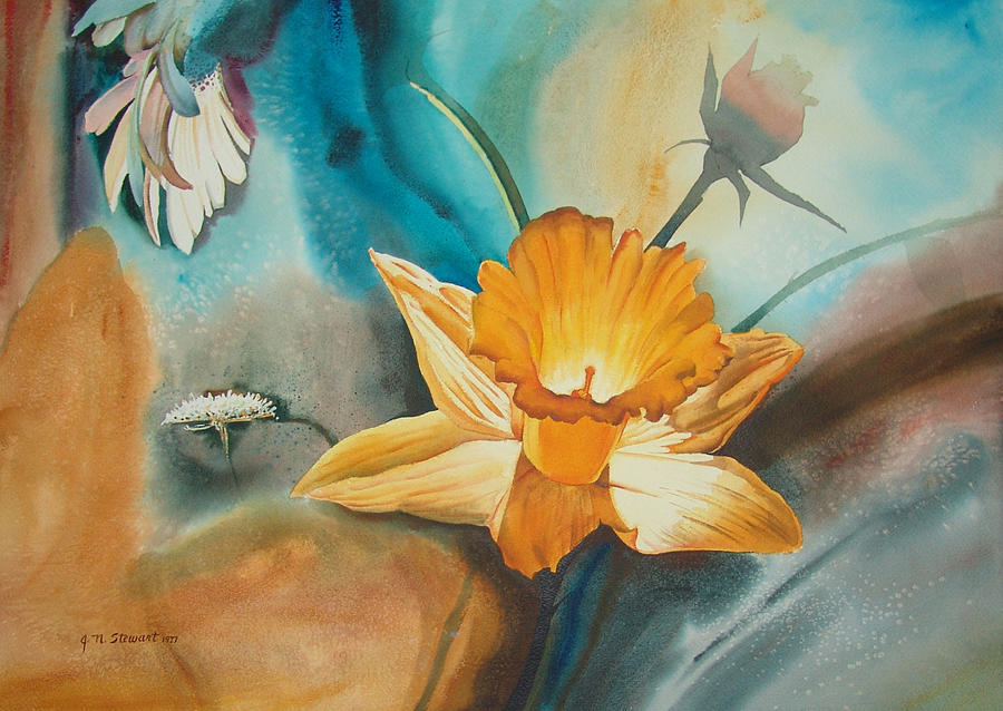Floral Painting - Exploding Floral by John Norman Stewart