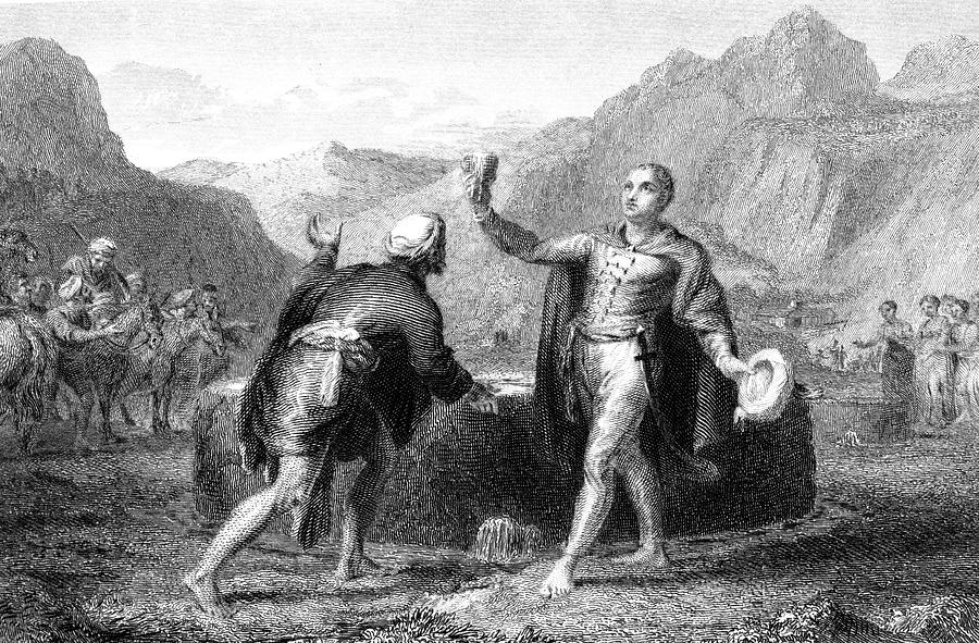 Bruce Drawing - Explorer James Bruce Reaches The Source by Mary Evans Picture Library
