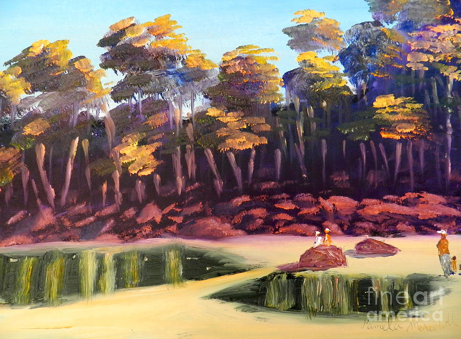Landscape Painting - Exploring On Echo Beach by Pamela  Meredith