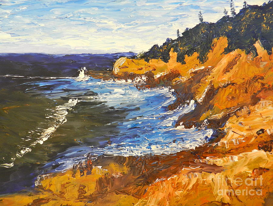 Impressionism Painting - Exploring On The Rocks  by Pamela  Meredith