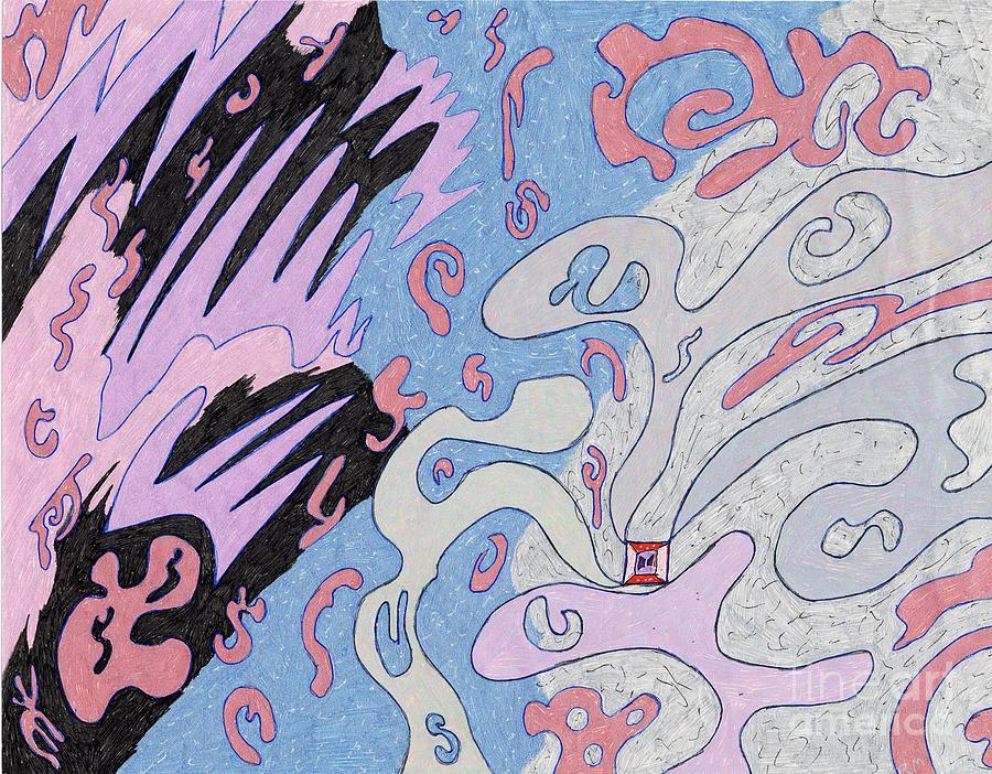 Space Drawing - Explosion In Space by Rebekah  McLeod