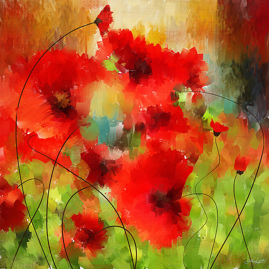 Poppies Painting - Explosions Galore by Lourry Legarde