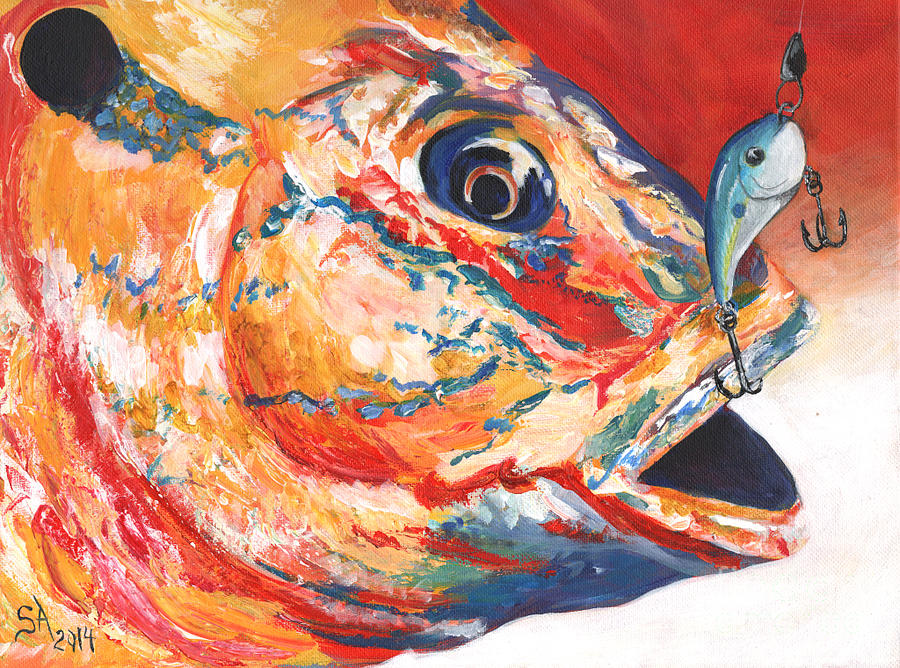 Expressionism Painting - Expressionist Blue Gill on Lure by Sonya Barnes