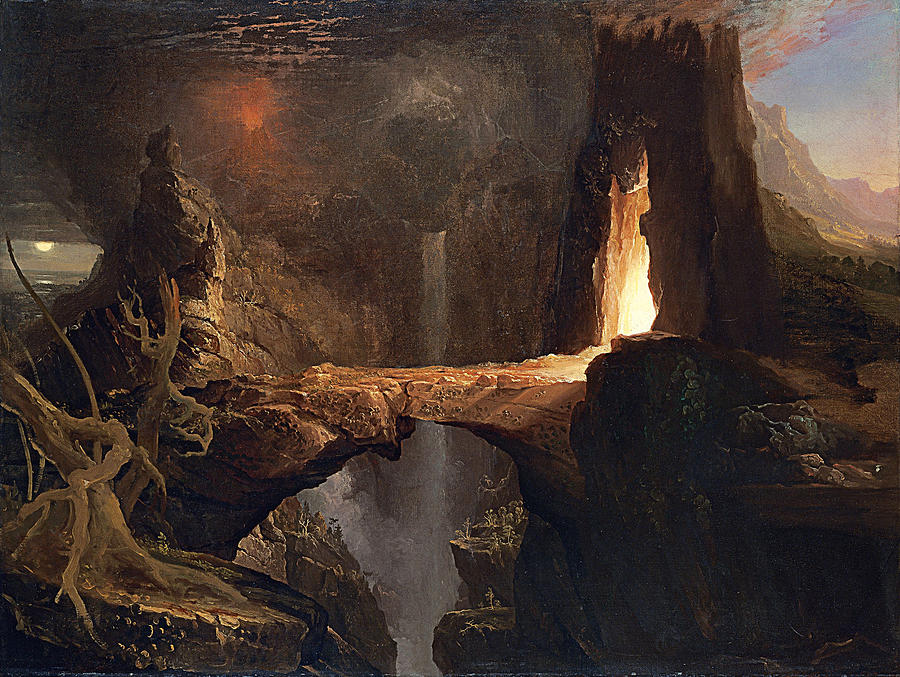 Thomas Cole Painting - Expulsion. Moon And Firelight by Thomas Cole
