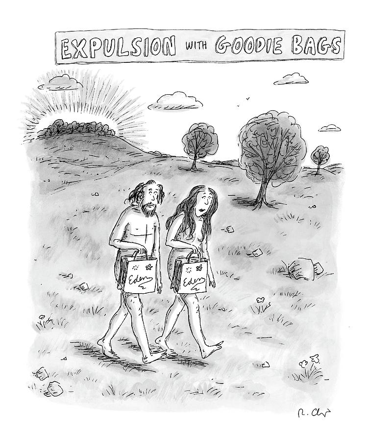 Expulsion With Goody Bags Drawing by Roz Chast