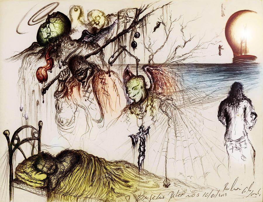 Adolescent Drawing - Extremos Cardinales by Ruben Santos