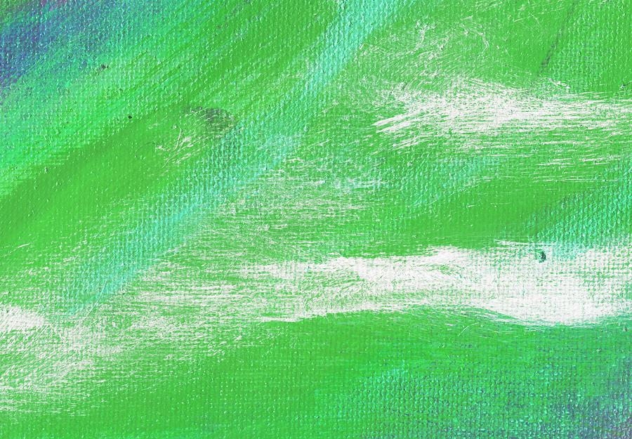 Abstract Painting - Exuberant Aqua Green Valley by L J Smith